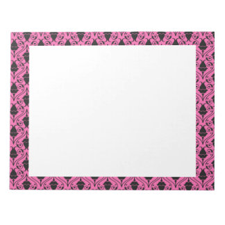 Black and Hot Pink Fuchsia Floral Damask Pattern Memo Notepad