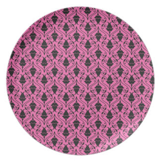 Black and Hot Pink Fuchsia Floral Damask Pattern Dinner Plate