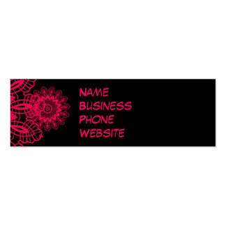 Black and Hot Pink Fuchsia Lace Snowflake Design Double-Sided Mini Business Cards (Pack Of 20)