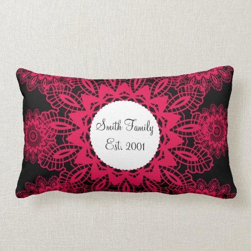 Black and Hot Pink Fuchsia Lace Snowflake Mandala Pillow