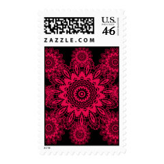 Black and Hot Pink Fuchsia Lace Snowflake Mandala Stamp