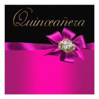 Black and Hot Pink Fuchsia Quinceanera Invitations