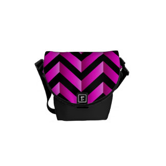 Black and Hot Pink Gradient Chevron Messenger Bags