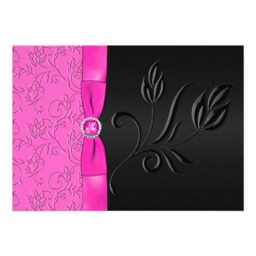 Black And Hot Pink Jeweled Wedding Invitation