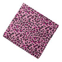 Black and Hot Pink Leopard Animal Print Bandana