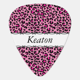 Black and Hot Pink Leopard Print   Personalize Guitar Pick