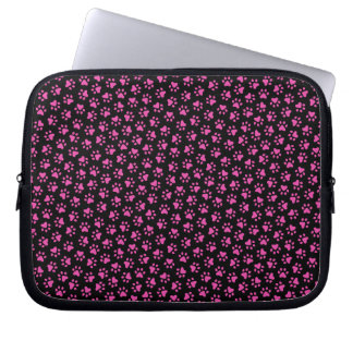 Black and hot pink paw print animal track pattern laptop sleeve
