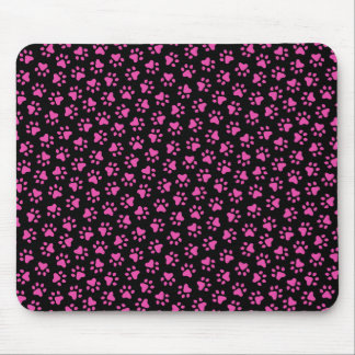 Black and hot pink paw print animal track pattern mouse pad