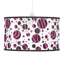 Black and Hot Pink Piloka Dot Zebra Ceiling Lamp