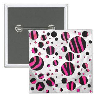 Black and Hot Pink Piloka Dot Zebra Pinback Button