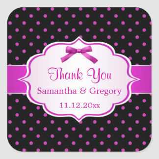 Black and hot pink polka dot Wedding Thank You Square Sticker