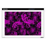 Black And Hot+Pink  Retro Flowers & Swirls Design Laptop Decal