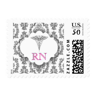 Black and Hot pink RN Damask Caduceus BSN Postage