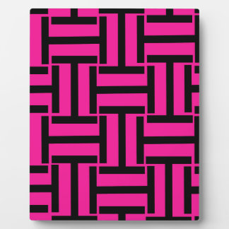 Black and Hot Pink T Weave Plaque