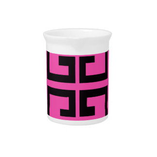 Black and Hot Pink Tile Pitcher