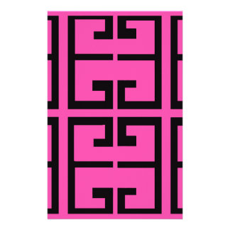 Black and Hot Pink Tile Stationery