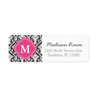 Black and Hot Pink Trendy Damask Custom Monogram Label