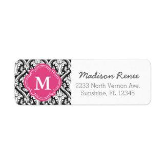 Black and Hot Pink Trendy Damask Custom Monogram Label