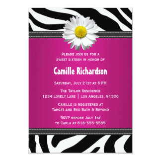 Black and Hot Pink, Zebra Sweet Sixteen Invitation