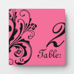 Black and Hot PinkFloral Chic Table Number Display Plaques