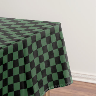 Black and Hunter Green Checkered Tablecloth