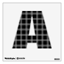 Black And Initial A Plaid Pattern Wall Sticker