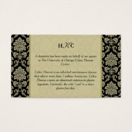 Black and Ivory Damask Reception Table Card