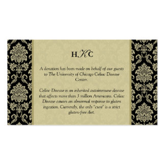 Black and Ivory Damask Reception Table Card Business Card Templates