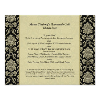Black and Ivory Damask Reception Table Recipe Card