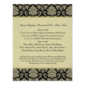 Black and Ivory Damask Reception Table Recipe Card Personalized Announcements