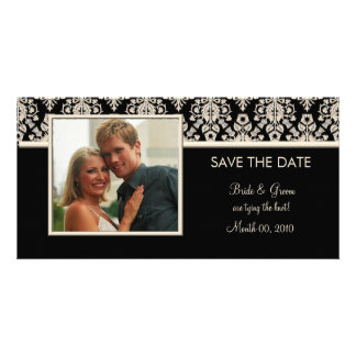 Black and Ivory Damask Save the Date Photo Cards
