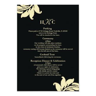 Black and Ivory Damask Wedding Enclosure Card Cust