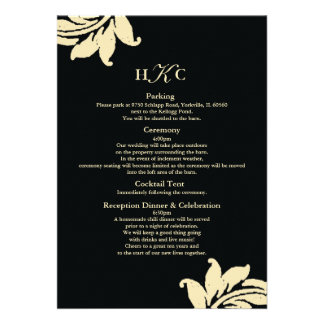 Black and Ivory Damask Wedding Enclosure Card Cust Personalized Announcements