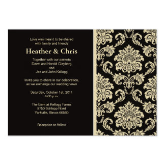 Black and Ivory Damask Wedding Invitation