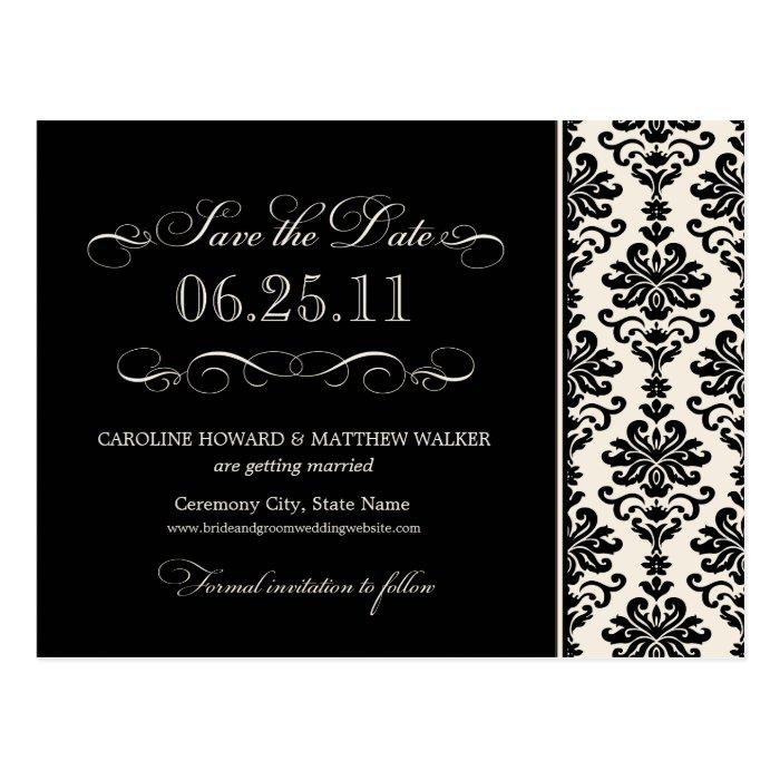 Black and Ivory Elegant Damask Save the Date Postcard
