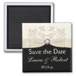 Black and Ivory Floral Save the Date Magnet