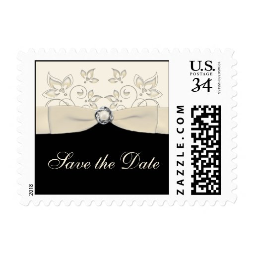 Black and Ivory Floral Save the Date Postage