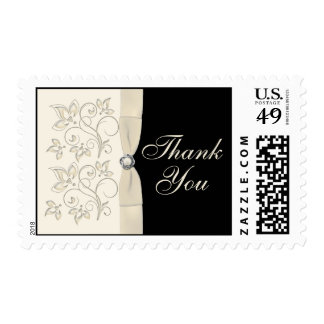Black and Ivory Floral Thank You Postage