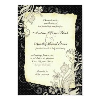 Black and Ivory Floral Wedding Invitation