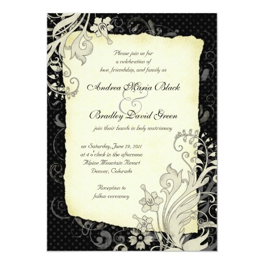 Black and Ivory Floral Wedding Invitation