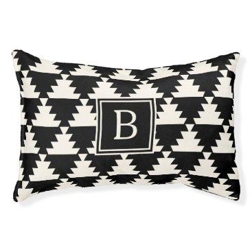 Aztec Themed Black and Ivory Modern Aztec Geometric Monogram Pet Bed