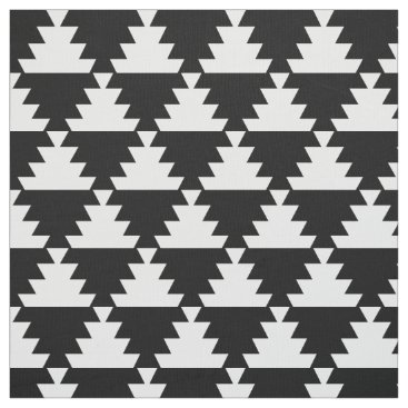 Aztec Themed Black and Ivory Modern Aztec Geometric Pattern Fabric