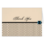 Black and Ivory Modern Damask Thank You card