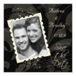 Black and Ivory Photo Save the Date Card Custom Announcement