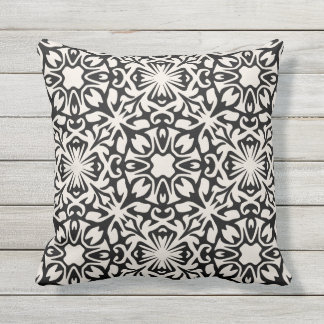 Black and Ivory Spanish Tile Pattern Throw Pillow