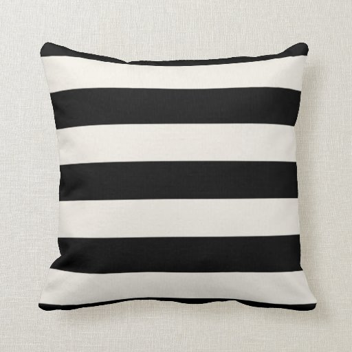 Black And Ivory Throw Pillows : Black and Ivory Stripes Throw Pillow Zazzle