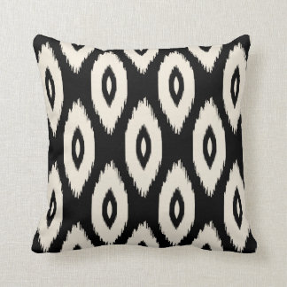 Black and Ivory Tribal Ikat Dots Throw Pillow
