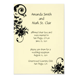 Black and Ivory Wedding Reception Invitation