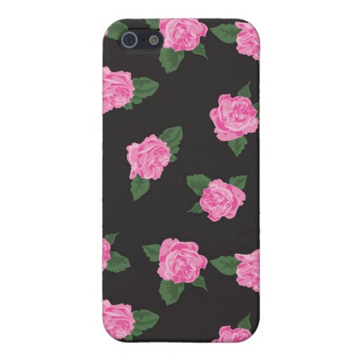Black and large pink rose iPhone 4 case skin