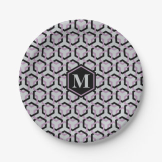 Black and Lavender Hexes Paper Plate 7 Inch Paper Plate